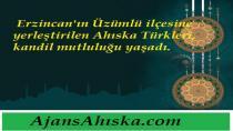 Erzincan'ın Üzümlü ilçesine yerleştirilen Ahıska Türkleri, kandil mutluluğu yaşadı.