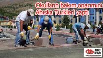 Okulların bakım onarımını Ahıska Türkleri yaptı