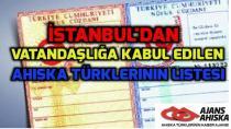 İstanbul'dan Vatandaşlığa Kabul Edilen Ahıska Türklerinin Listesi