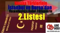 İstanbul ve Bursa'dan Vatandaşlığa Kabul Edilenlerin 2.listesi
